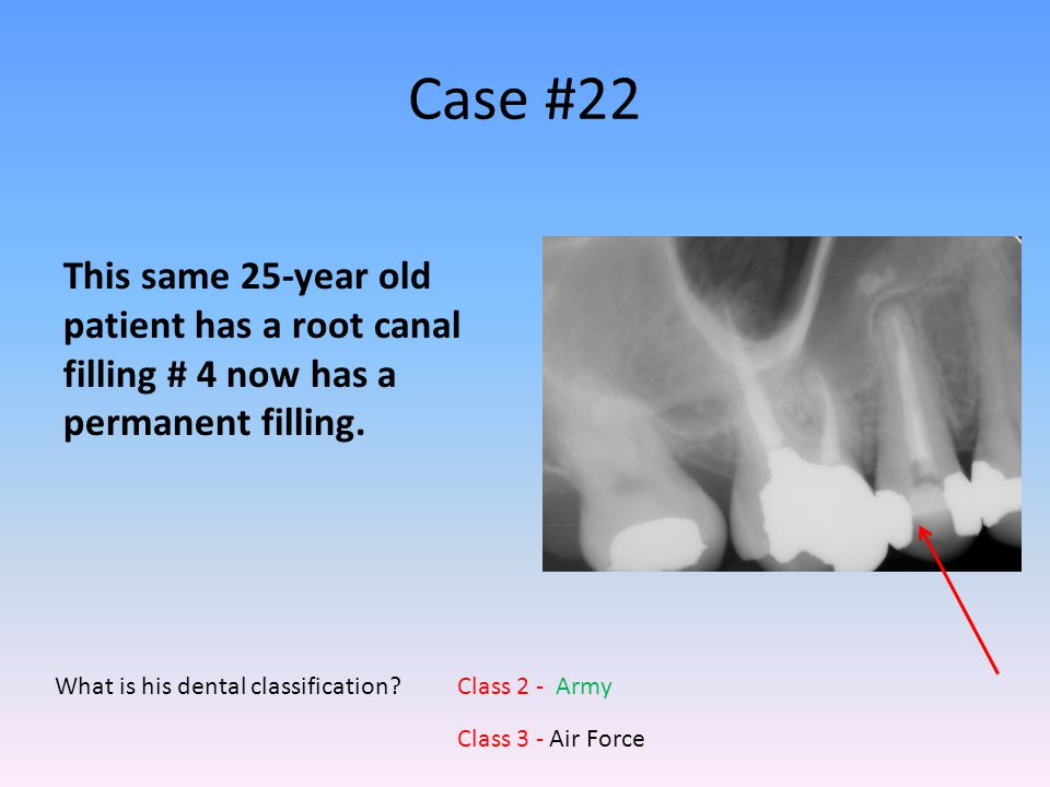 Case #22 This same 25-year old patient has a root canal filling # 4 now has a permanent filling. What is his dental classification