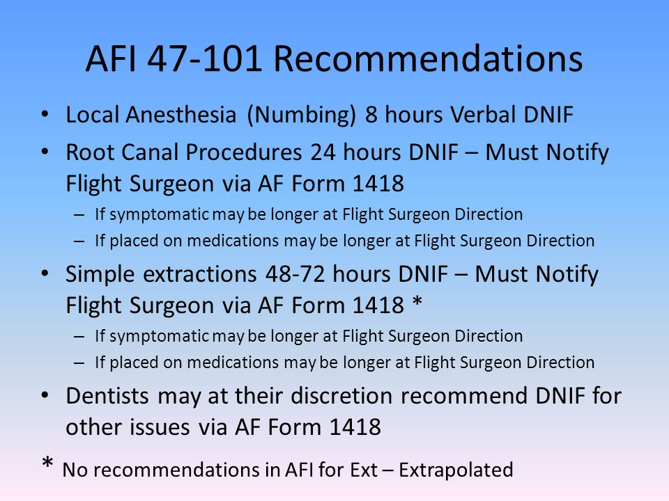AFI 47-101 Recommendations Local Anesthesia (Numbing) 8 hours Verbal DNIF.
