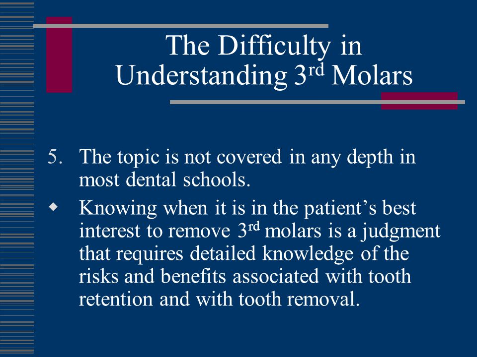 The Difficulty in Understanding 3rd Molars