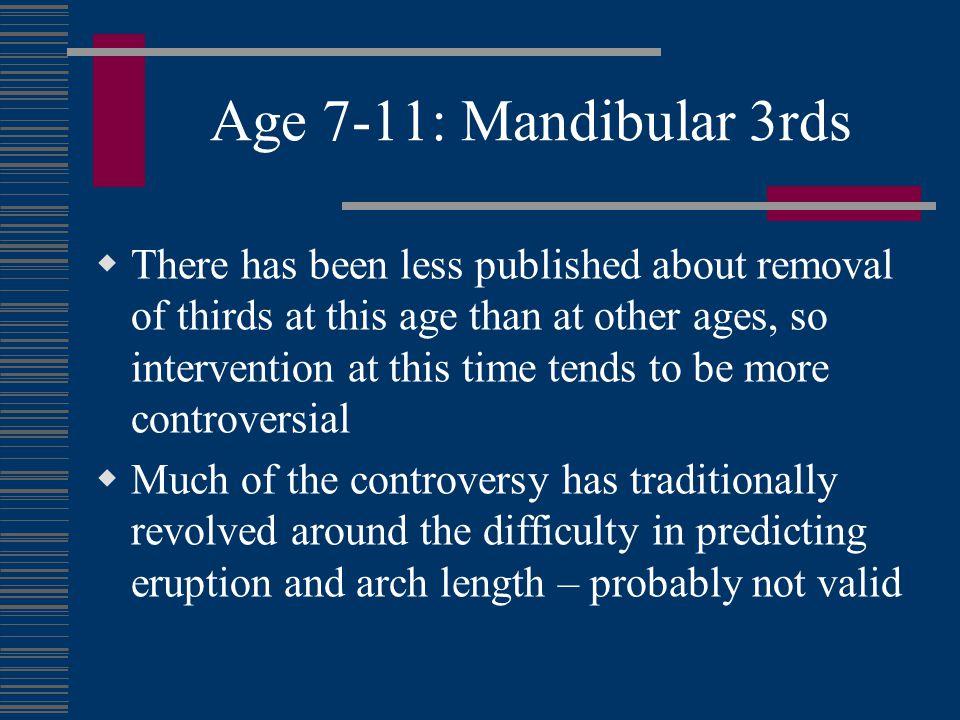 Age 7-11: Mandibular 3rds