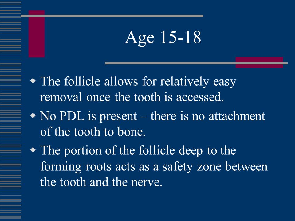 Age 15-18 The follicle allows for relatively easy removal once the tooth is accessed.
