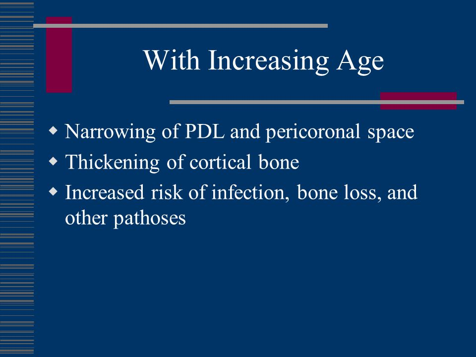 With Increasing Age Narrowing of PDL and pericoronal space