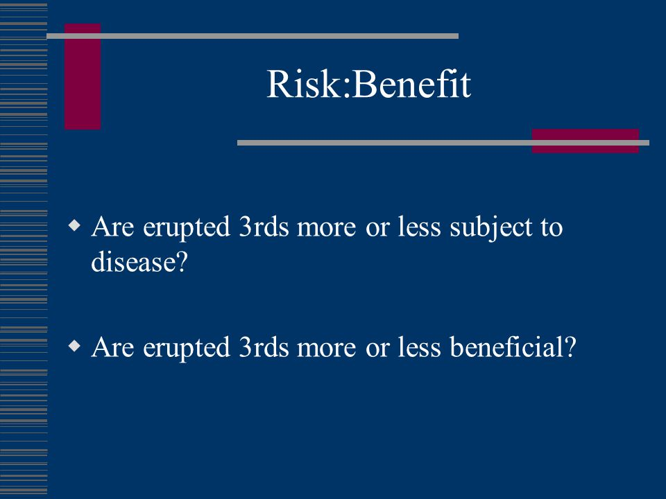 Risk:Benefit Are erupted 3rds more or less subject to disease