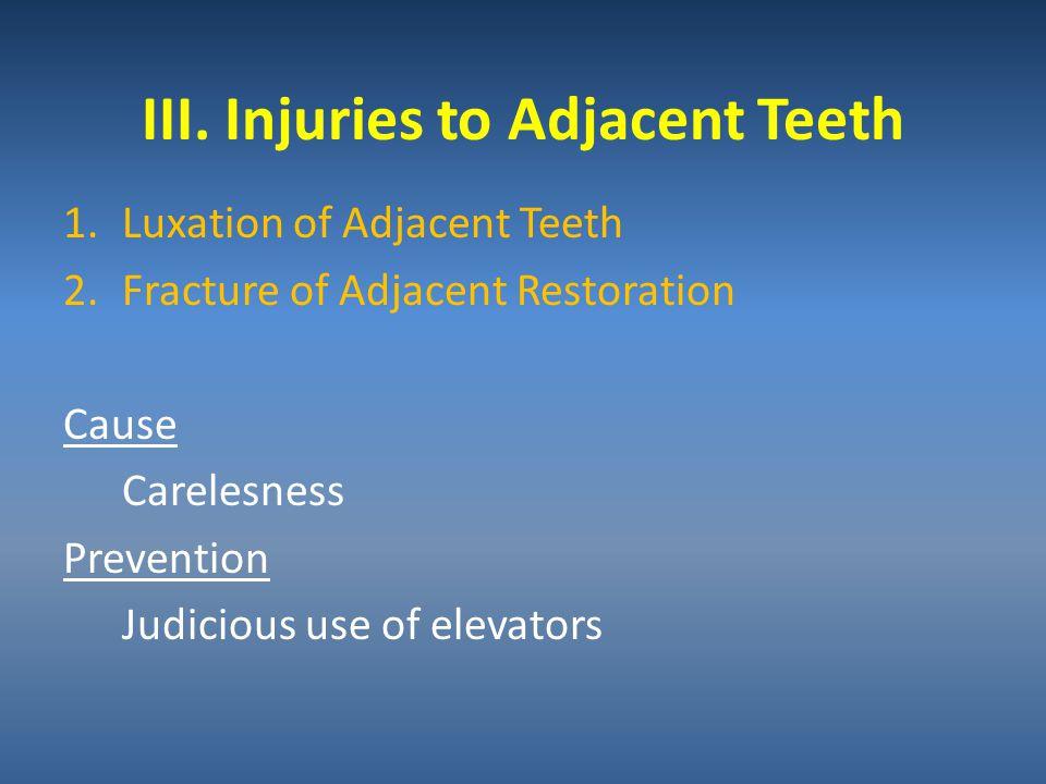 III. Injuries to Adjacent Teeth