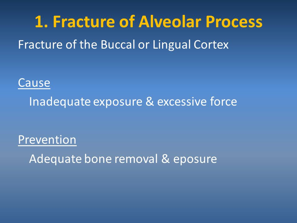 1. Fracture of Alveolar Process