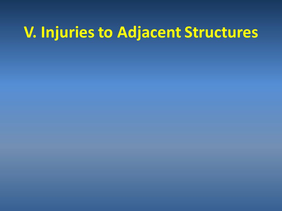 V. Injuries to Adjacent Structures
