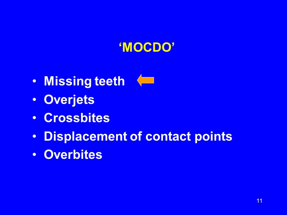'MOCDO' Missing teeth Overjets Crossbites Displacement of contact points Overbites