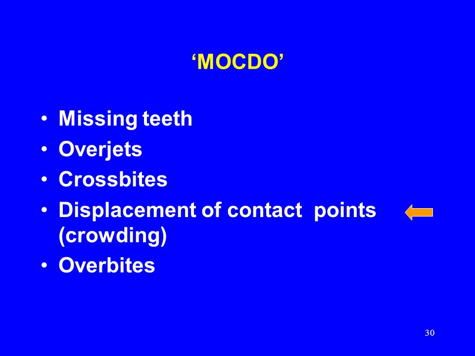 'MOCDO' Missing teeth. Overjets. Crossbites.