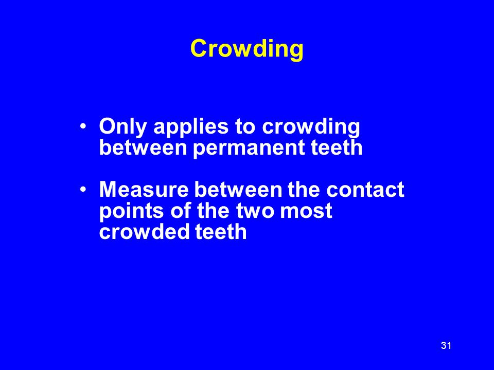 Crowding Only applies to crowding between permanent teeth