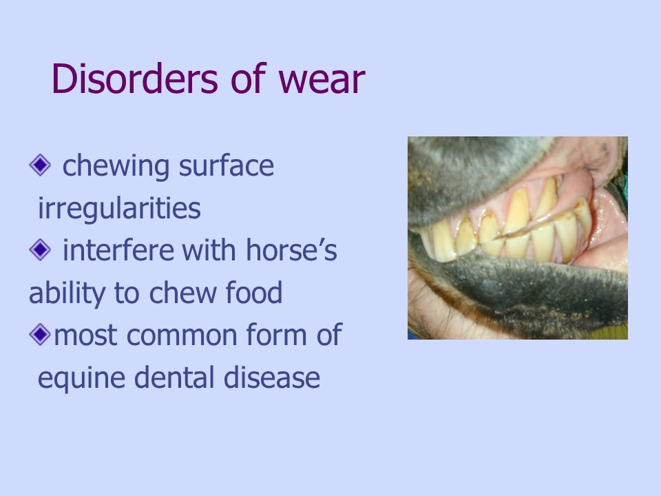 Disorders of wear chewing surface irregularities