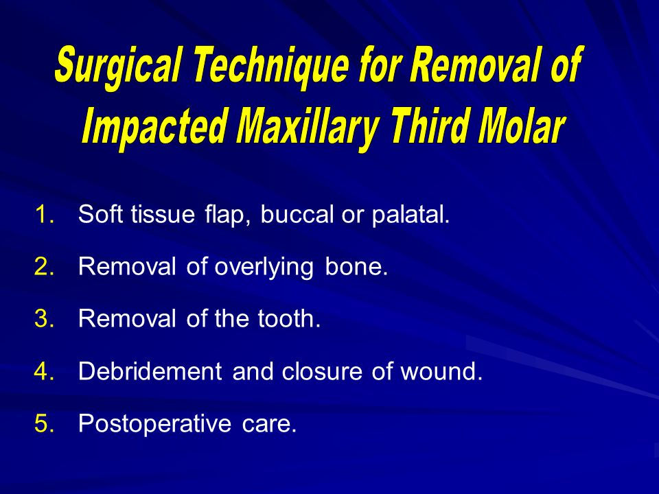 Surgical Technique for Removal of Impacted Maxillary Third Molar