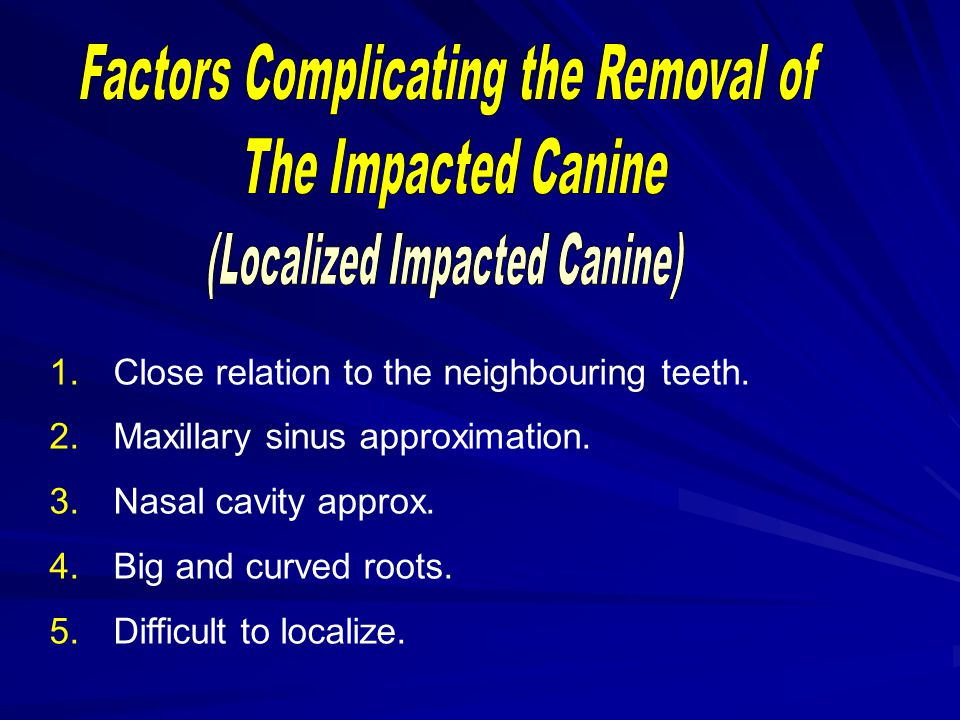 Factors Complicating the Removal of The Impacted Canine