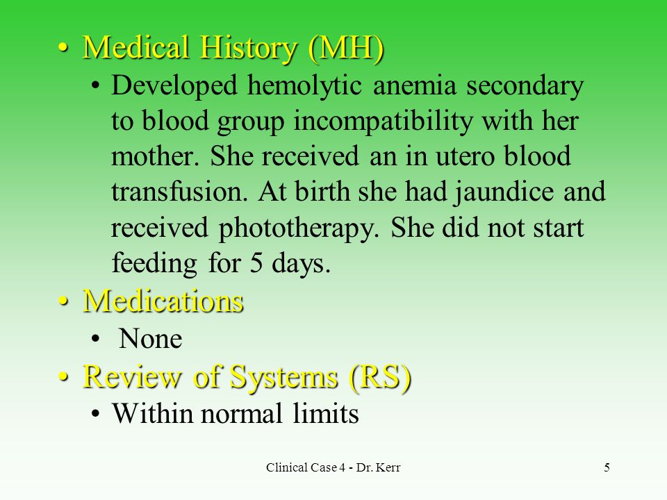 Medical History (MH) Medications Review of Systems (RS)