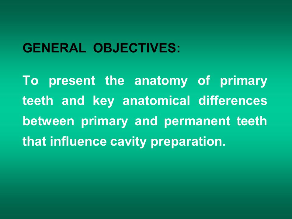 GENERAL OBJECTIVES: