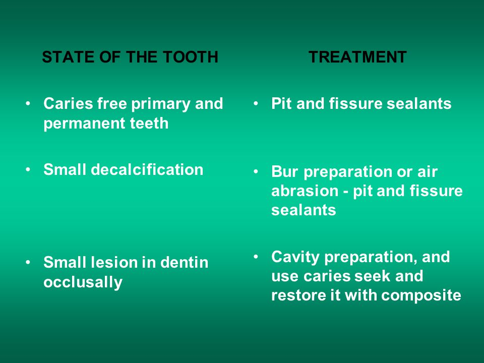 STATE OF THE TOOTH Caries free primary and permanent teeth. Small decalcification. Small lesion in dentin occlusally.