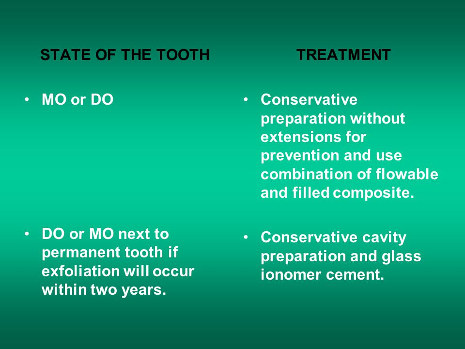 STATE OF THE TOOTH MO or DO. DO or MO next to permanent tooth if exfoliation will occur within two years.