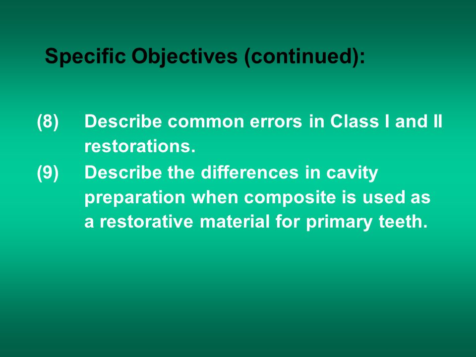 Specific Objectives (continued):