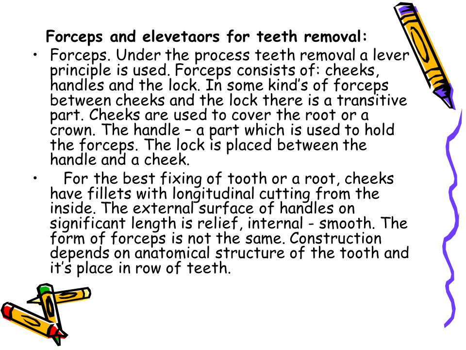 Forceps and elevetaors for teeth removal: