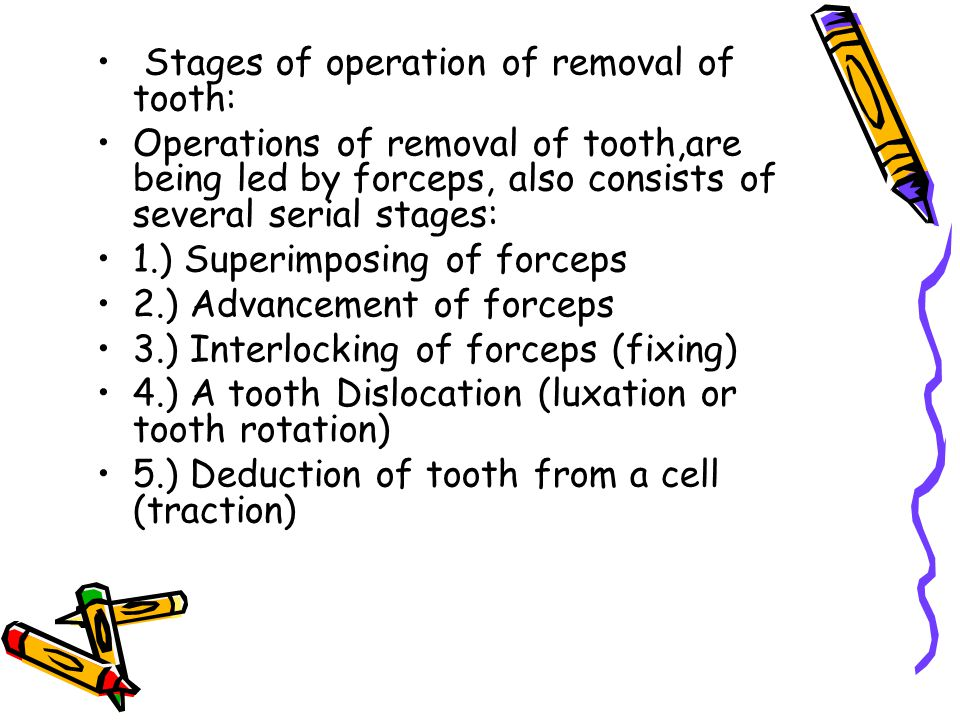 Stages of operation of removal of tooth: