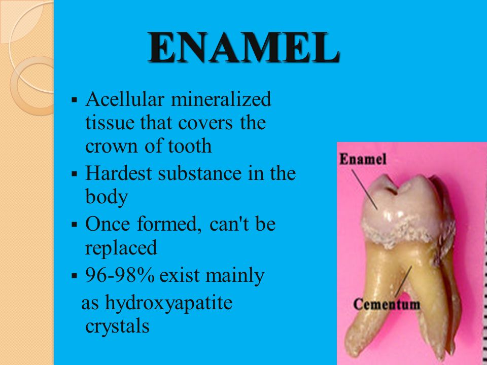ENAMEL Acellular mineralized tissue that covers the crown of tooth