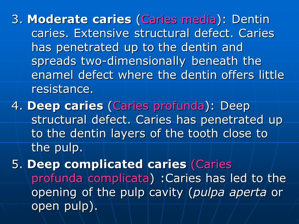 3. Moderate caries (Caries media): Dentin caries