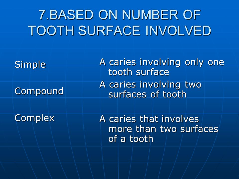 7.BASED ON NUMBER OF TOOTH SURFACE INVOLVED