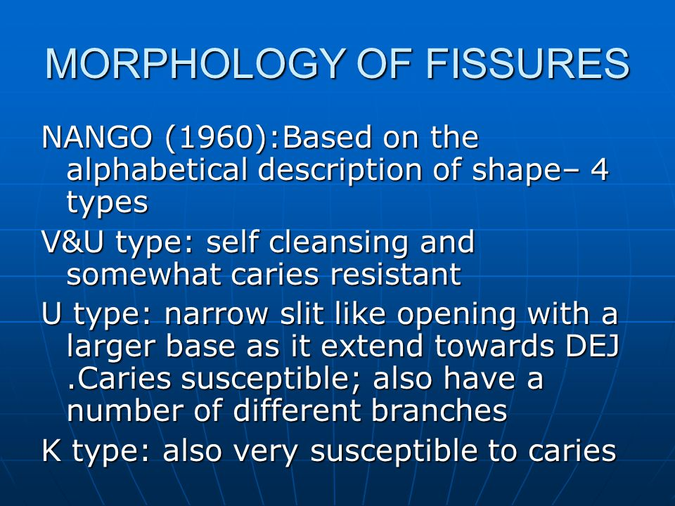 MORPHOLOGY OF FISSURES