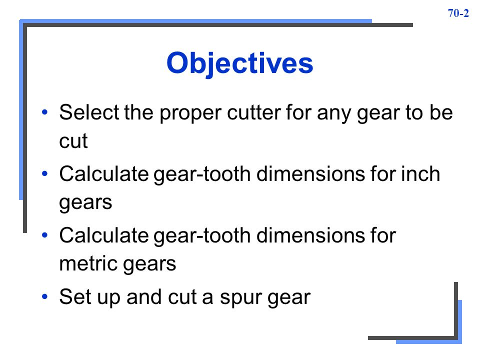 Objectives Select the proper cutter for any gear to be cut