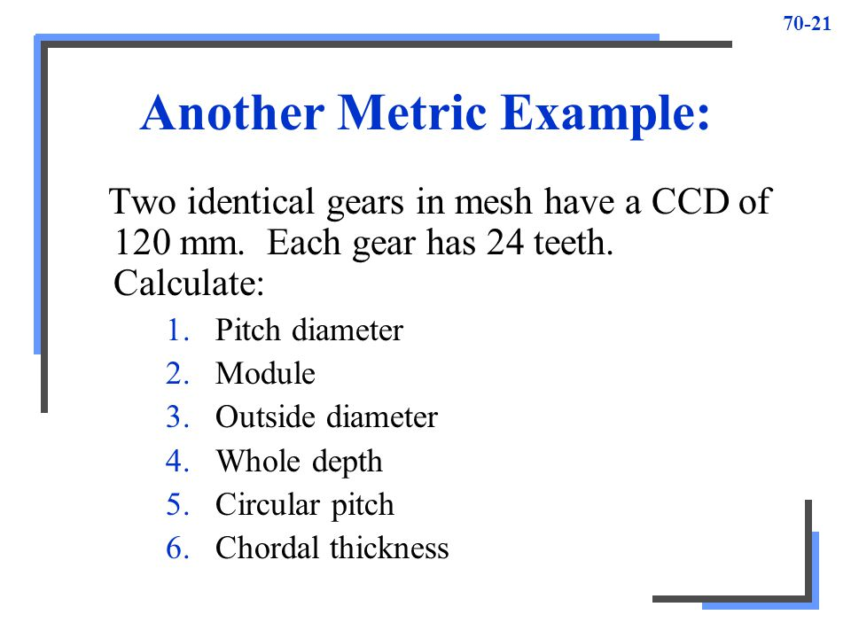 Another Metric Example: