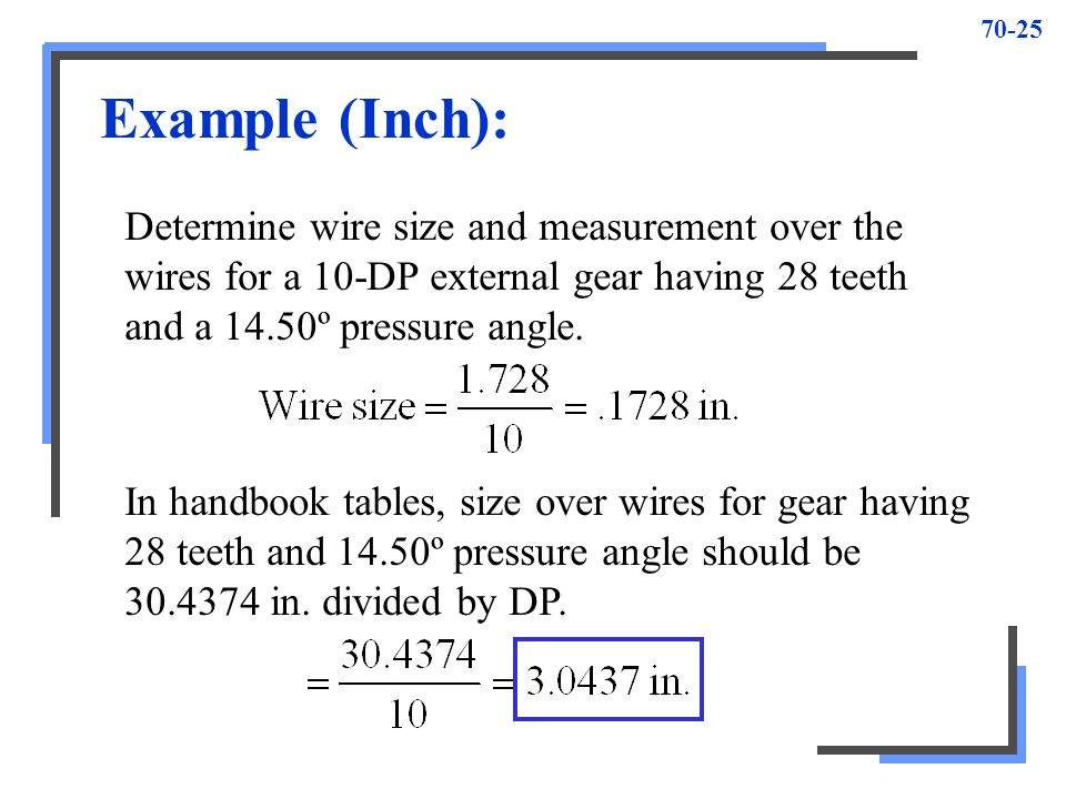 Example (Inch): Determine wire size and measurement over the wires for a 10-DP external gear having 28 teeth and a 14.50º pressure angle.