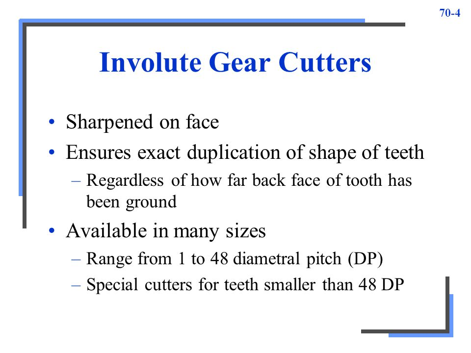 Involute Gear Cutters Sharpened on face