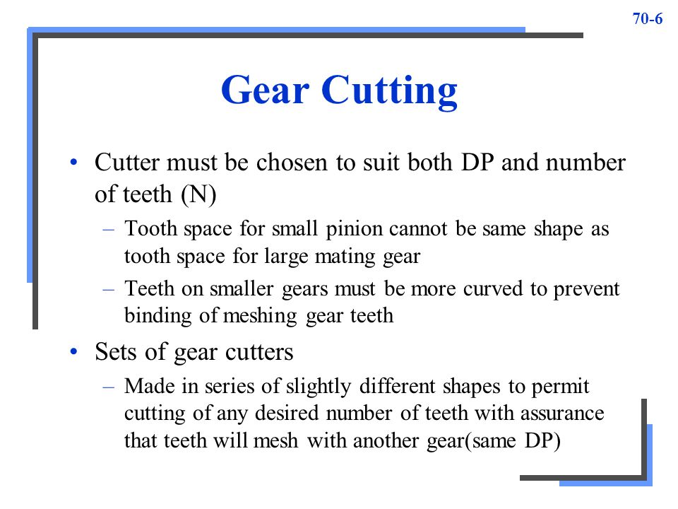 Gear Cutting Cutter must be chosen to suit both DP and number of teeth (N)