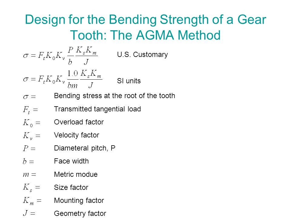 Design for the Bending Strength of a Gear Tooth: The AGMA Method