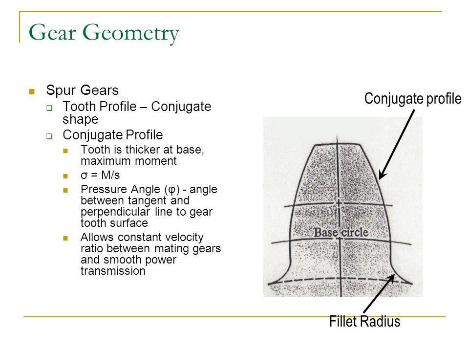 Gear Geometry Conjugate profile Fillet Radius Spur Gears