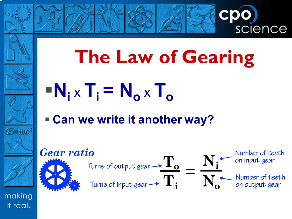 The Law of Gearing Ni x Ti = No x To Can we write it another way