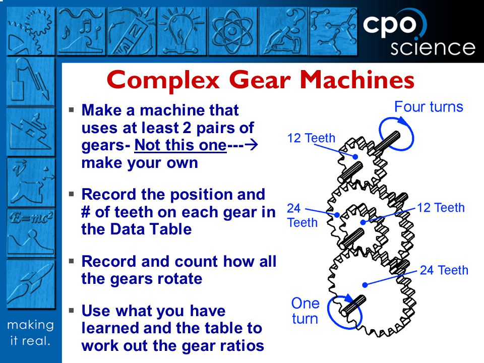 Complex Gear Machines Make a machine that uses at least 2 pairs of gears- Not this one--- make your own.