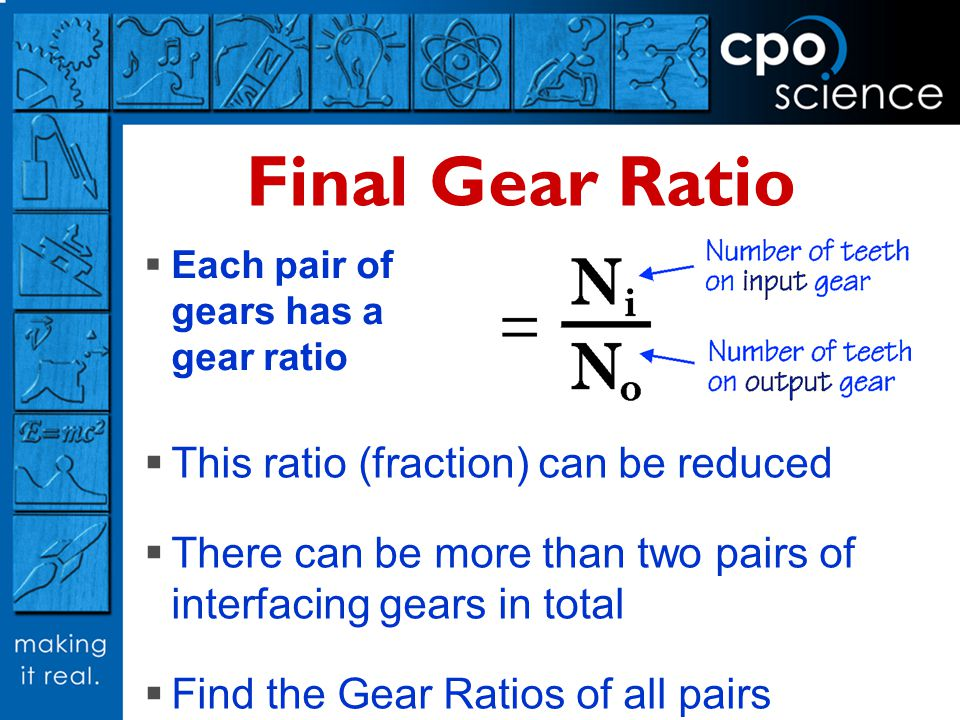 Final Gear Ratio This ratio (fraction) can be reduced