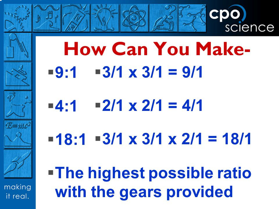 How Can You Make- 9:1 3/1 x 3/1 = 9/1 4:1 2/1 x 2/1 = 4/1 18:1