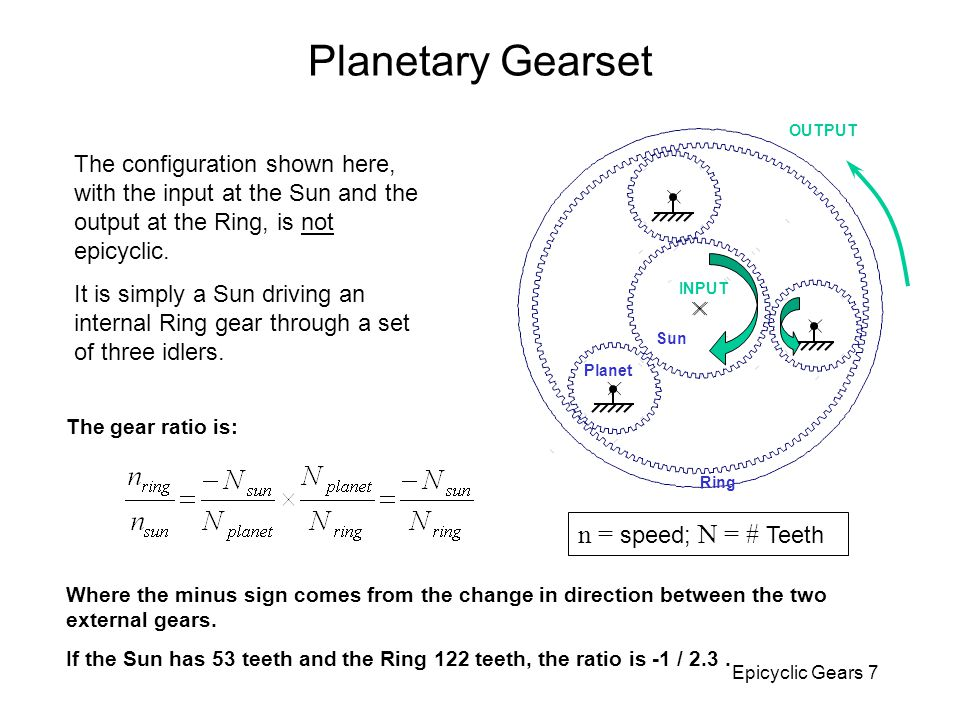 Planetary Gearset n = speed; N = # Teeth