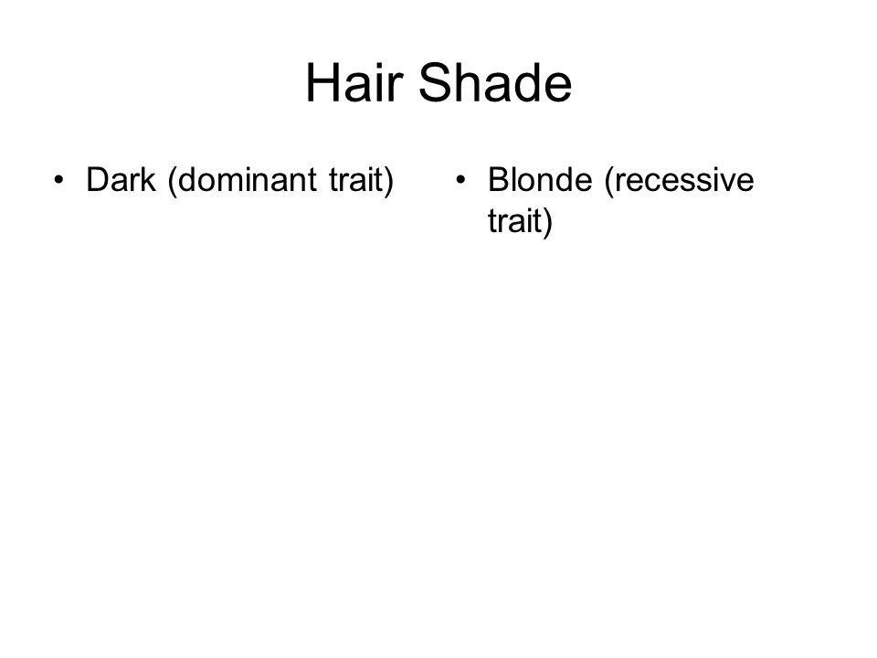 Hair Shade Dark (dominant trait) Blonde (recessive trait)