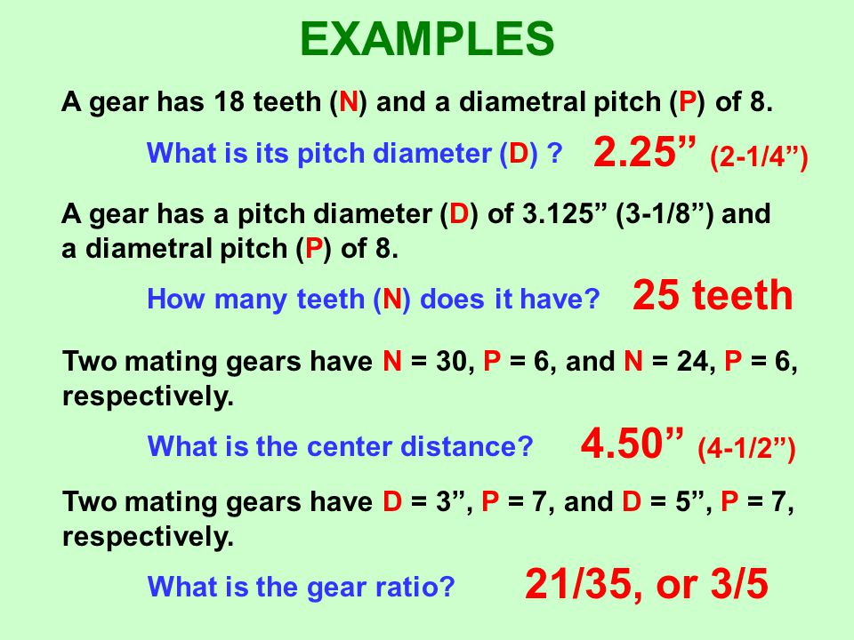 EXAMPLES 2.25 (2-1/4 ) 25 teeth 4.50 (4-1/2 ) 21/35, or 3/5