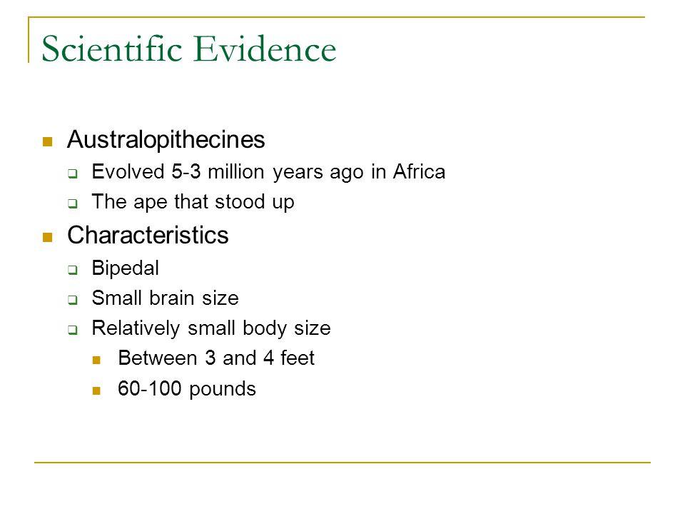 Scientific Evidence Australopithecines Characteristics