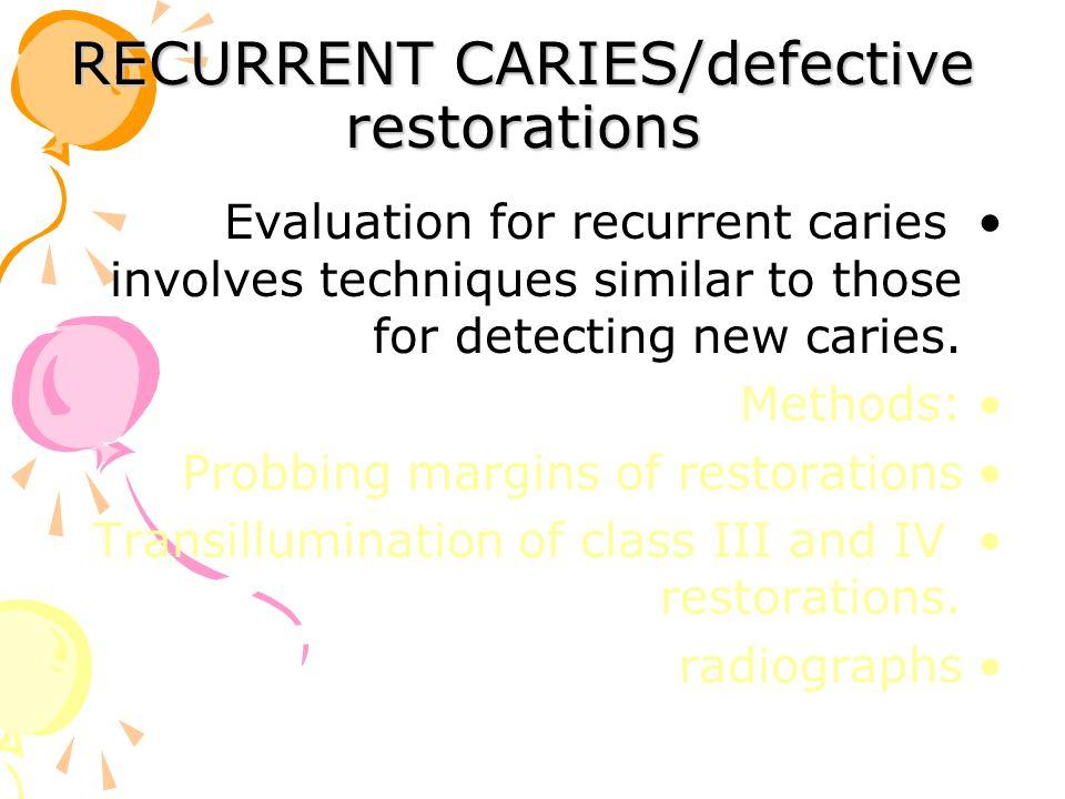 RECURRENT CARIES/defective restorations