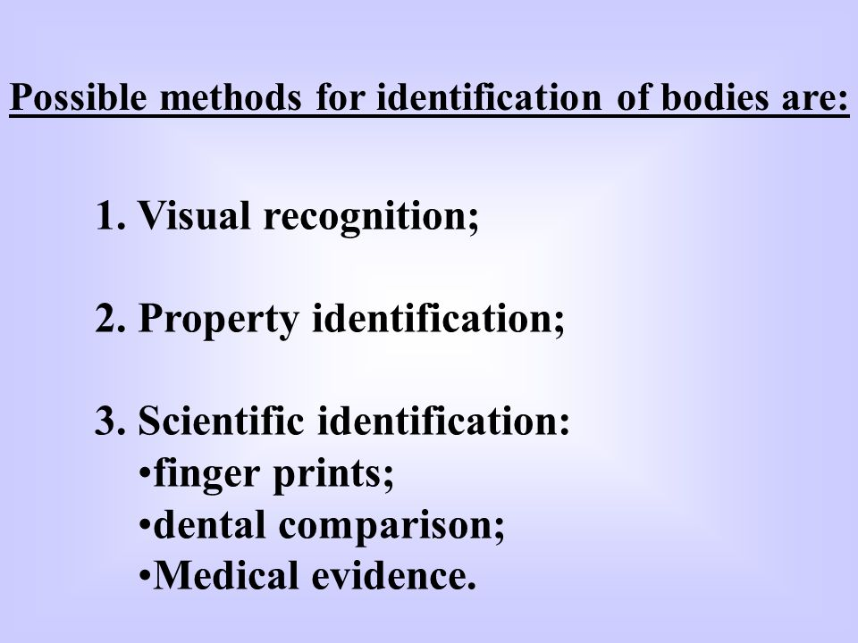 2. Property identification; 3. Scientific identification:
