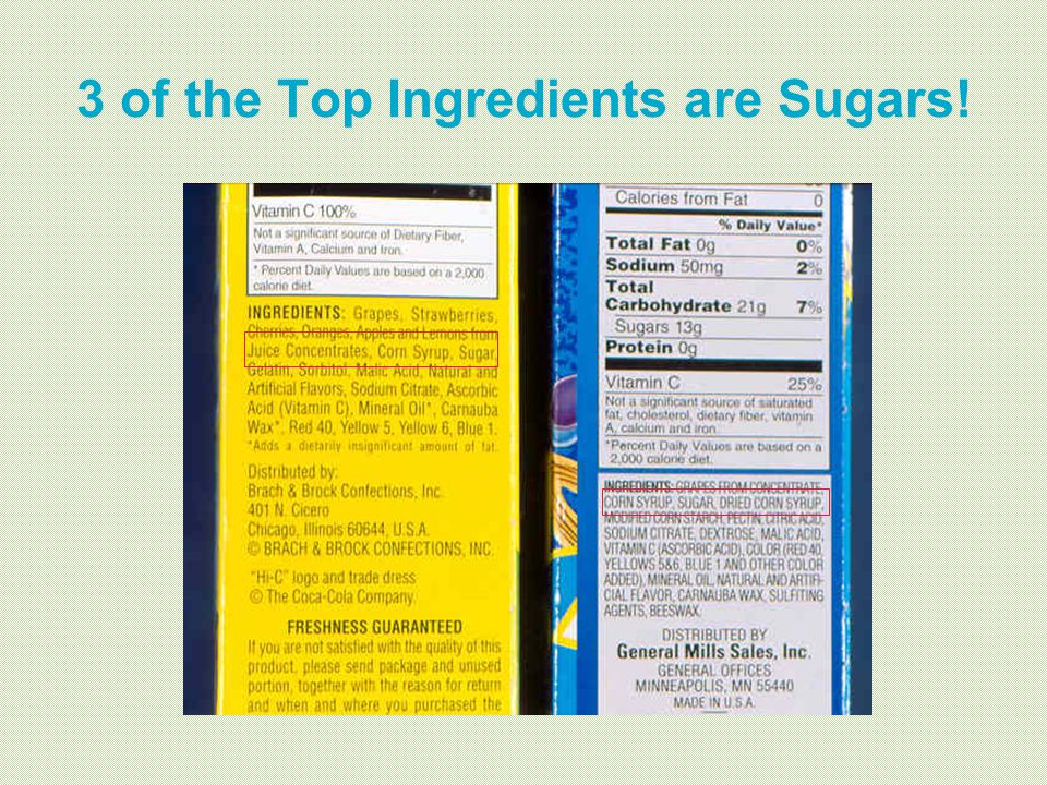 3 of the Top Ingredients are Sugars!
