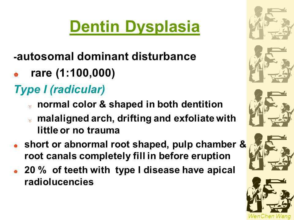 Dentin Dysplasia rare (1:100,000) Type I (radicular)