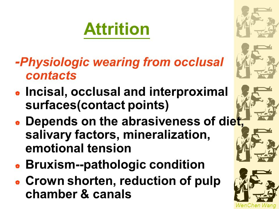 Attrition -Physiologic wearing from occlusal contacts