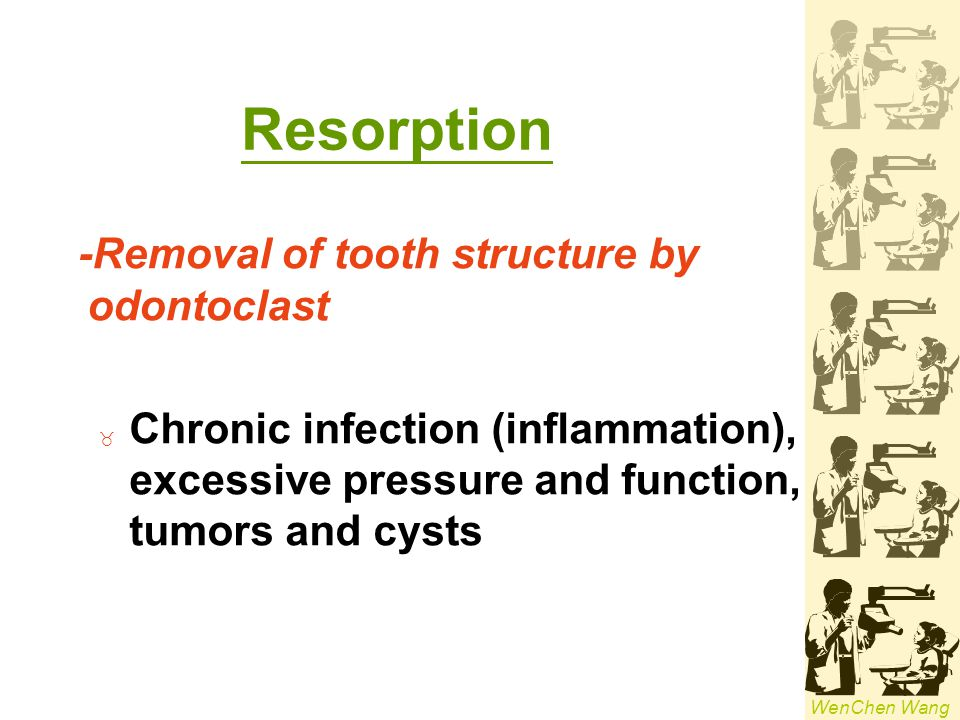Resorption -Removal of tooth structure by odontoclast
