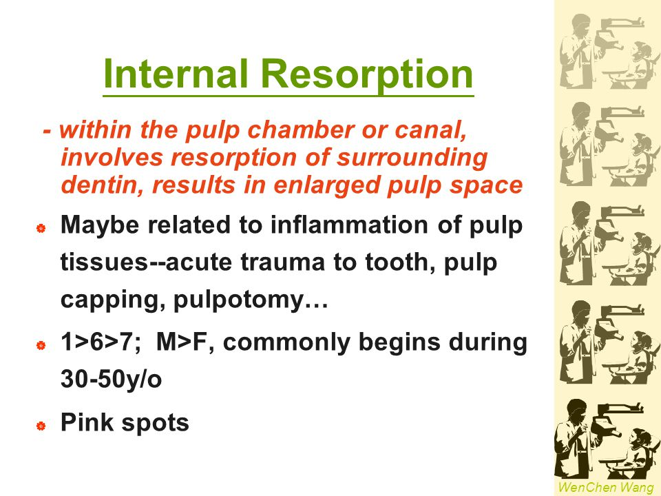 Internal Resorption - within the pulp chamber or canal, involves resorption of surrounding dentin, results in enlarged pulp space.