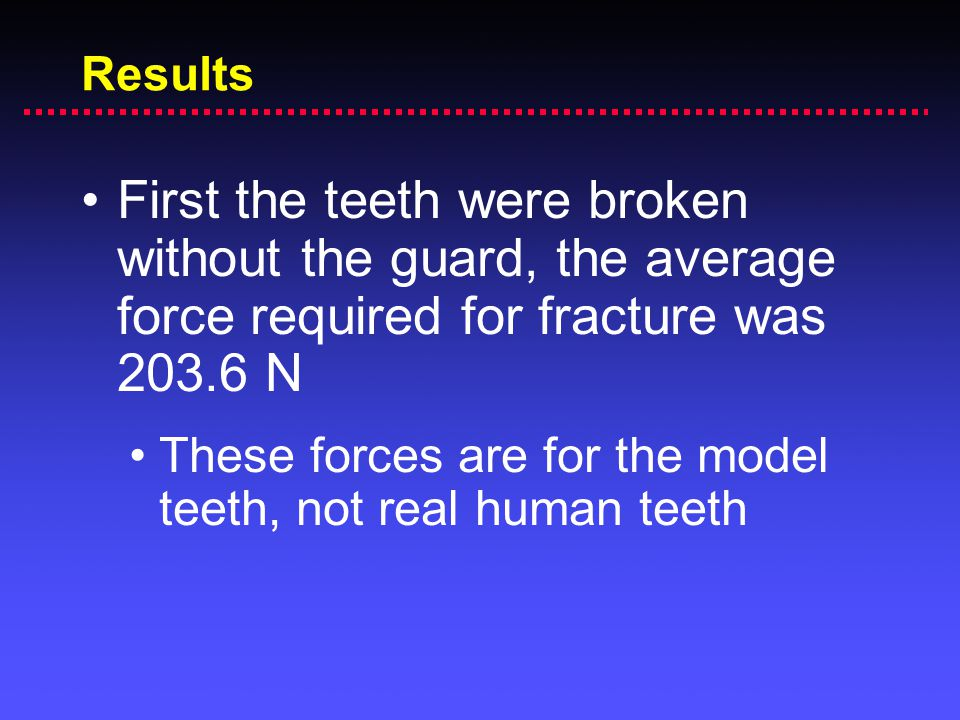 Results First the teeth were broken without the guard, the average force required for fracture was 203.6 N.